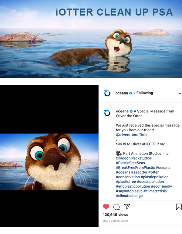 Raft Animation iOtter Clean Up PSA animated social media star